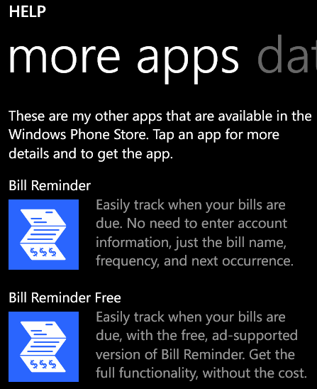 Windows Phone More Apps