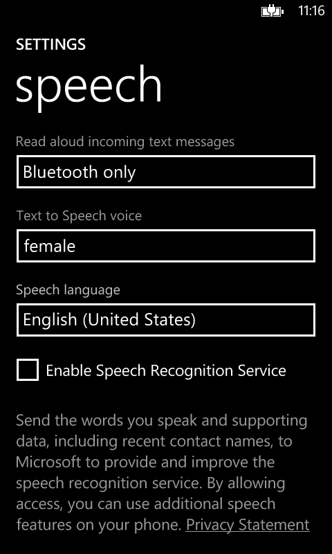 Speech Recognition Setting